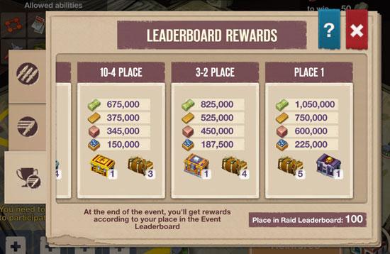 Phần thưởng quà tặng xếp hạng trong game